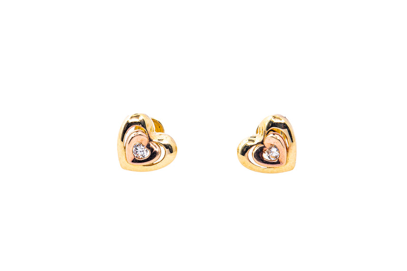 MO Cubic Zirconia Heart Studs 14K 585 Yellow & Rose Gold Pair of CZ Earrings
