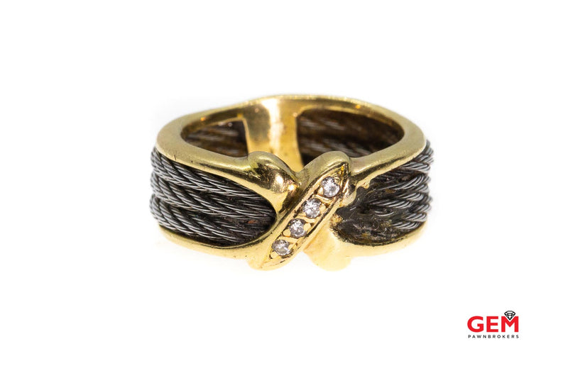 Philippe Charriol 18k 750 Yellow Gold Steel Diamond Ring X Band Size 7 8.3mm