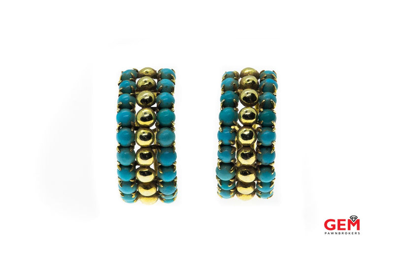 Natural Turquoise Beaded Accent Drop 18K 750 Yellow Gold Earrings