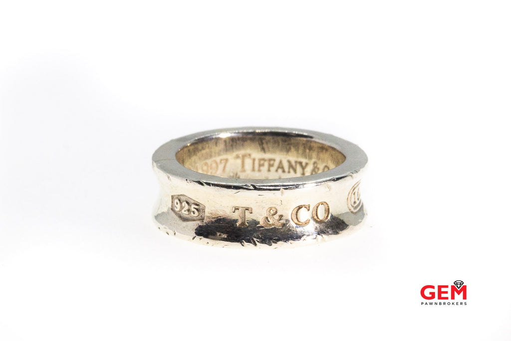 Tiffany & Co.  1837 Collection Concave Band 6.7mm Solid Sterling Silver 925 Ring Size 5