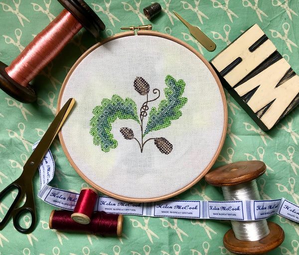 'From Small Acorns' Blackwork in colour embroidery kit
