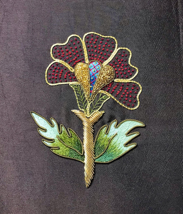 'Poppy' silk shading, surface stitching and gold work embroidery kit