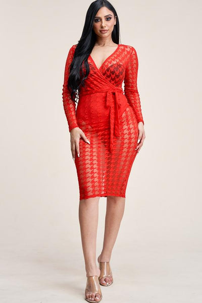 Long sleeve cross over burnout mesh midi dress - Drb Shop