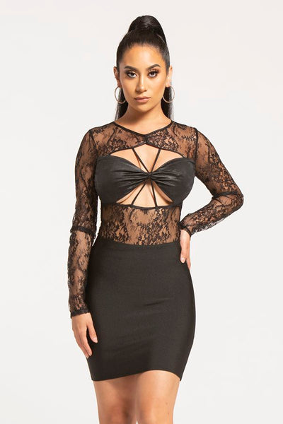 Long Sleeve Lace Cutout Bodysuit - Drb Shop