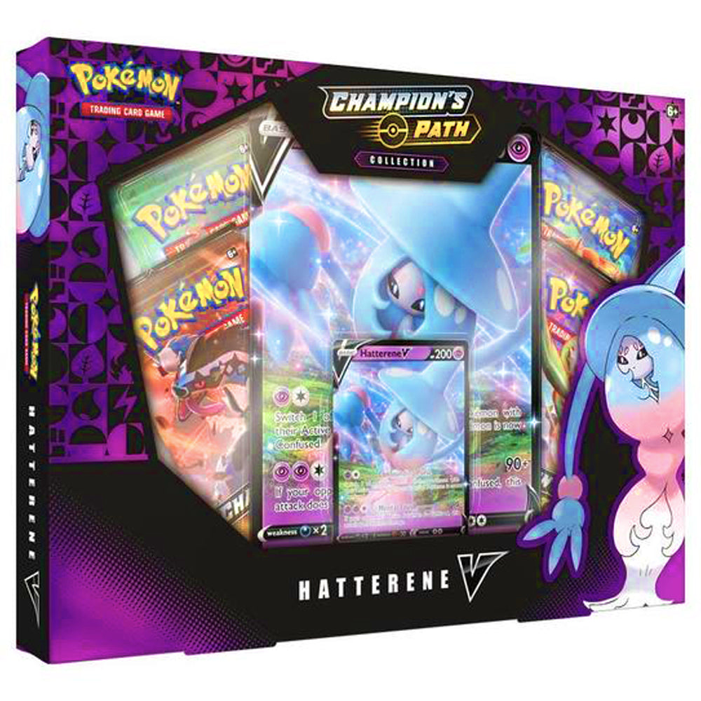 Pokemon Cards, Pokemon Trading Cards, Sword and Shield, Champion's Path, Hatterene V Box