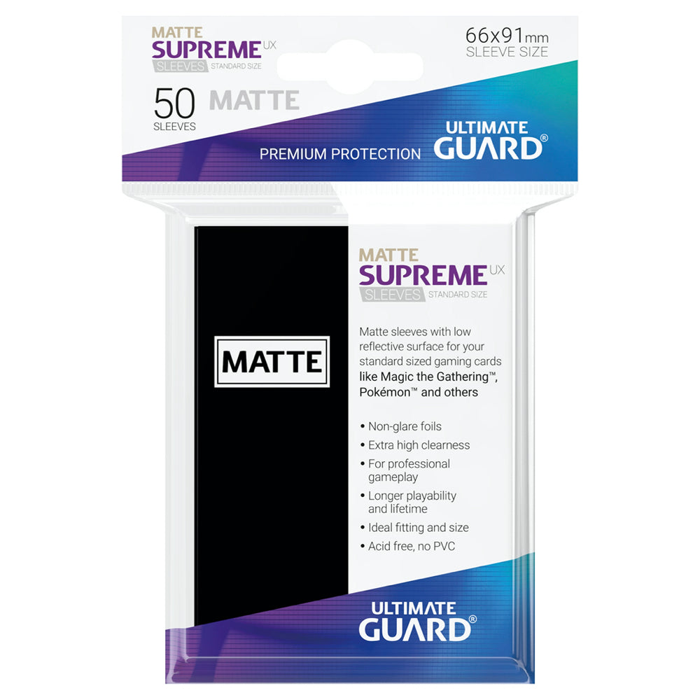 Ultimate Guard Supreme Sleeves Std Size Matte Black (50)