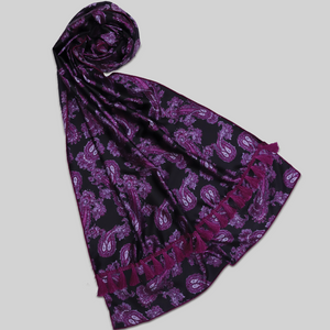 BKH-009-Black And Purple Printed Fine Silk