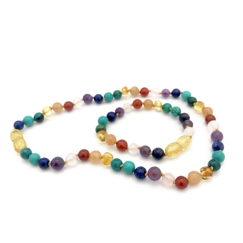 NEW Bubba Chew - Amber Teething Necklace with gemstones