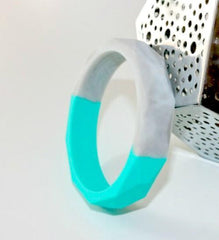 Bangles - Bubba Chew - Turquoise And Marble Geo Duo Bangle