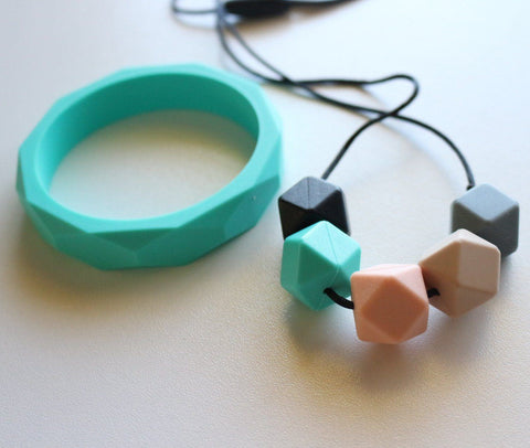 New - Bubba Chew Pastel Geo Chew & Turquoise Bangle Set