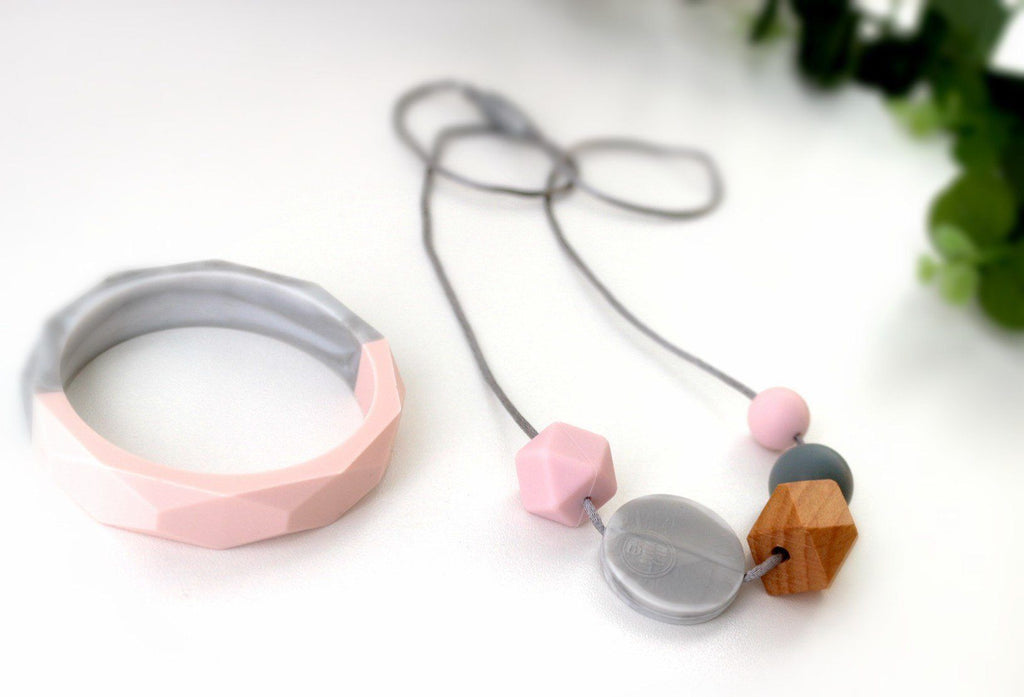 Combo Pack - New Bubba Chew Pink, Wood And Marble Necklace And Bangle Set