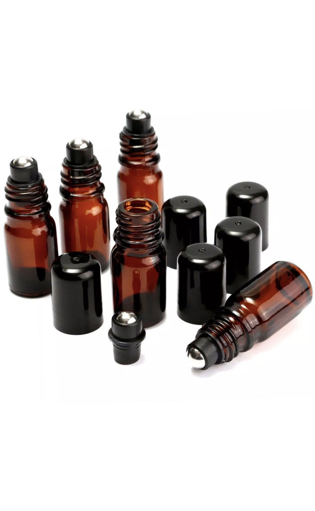 DoTERRA - 10ML Amber Roll On Roller Bottle For Essential Oils Refillable Containers With Black Lid