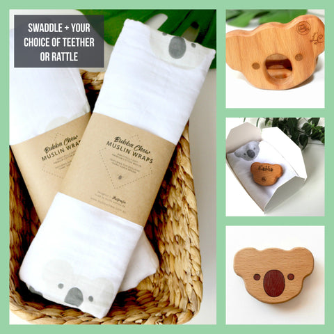 Gift Packs - New Bubba Chew Koala Muslin Wrap Gift Packs