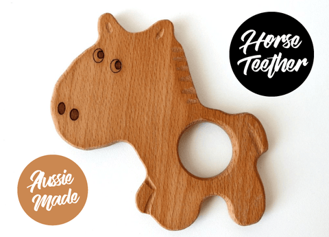 New Bubba Chew Natural Wooden Horse Teether toy