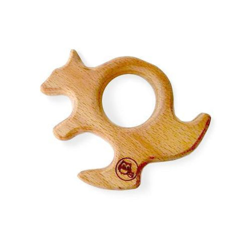 New Bubba Chew Natural Wooden Kangaroo Teether toy