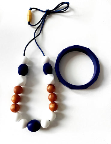 New Bubba Chew  - Rose and Navy necklace and bangle set