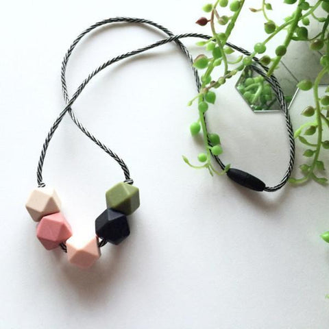 Bubba Chew Silicone Necklace - Autumn Geo