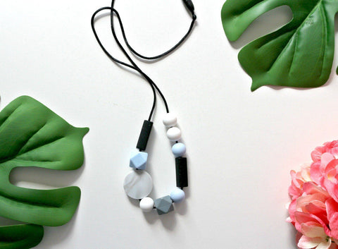 Necklace - Bubba Chew Silicone Necklace - Baby Blue Jigsaw Jewels