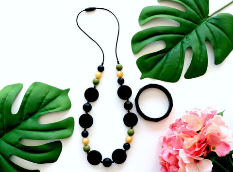 Bubba Chew Silicone Necklace - Black, Green and Gold