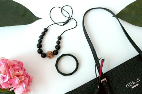 Bubba Chew Silicone Necklace - Black Zebrano + bangle