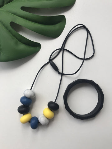 New - Bubba Chew Abacus denim and yellow necklace and bangle