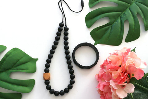 Bubba Chew - Black & Beechwood Necklace and Bangle Set