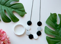 Necklace - NEW - Bubba Chew Black, White And Marble
