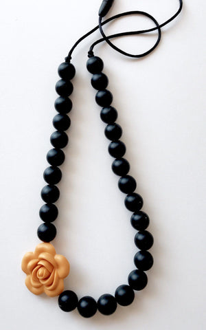 Necklace - New - Bubba Chew Black With Mustard Flower