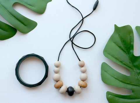 Necklace - New Bubba Chew Natural Wood And Silicone