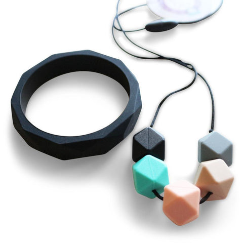 New - Bubba Chew Pastel Geo Chew & Black Bangle Set