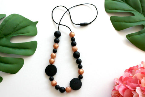 Necklace - NEW Bubba Chew -  Rose Gold And Black Necklace & Bangle