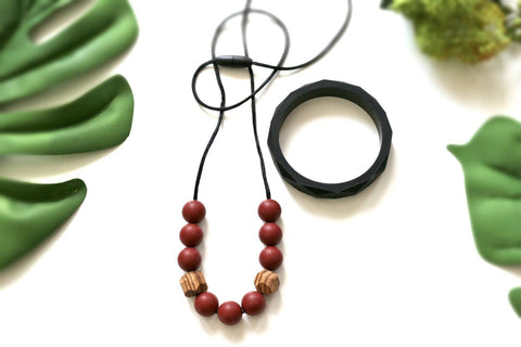 Necklace - New Bubba Chew Silicone Necklace - Red Pear + Zebrano