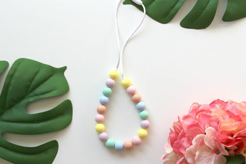 Silicone Necklaces - Charmed For Kids ~ Pastel Rainbow Necklace