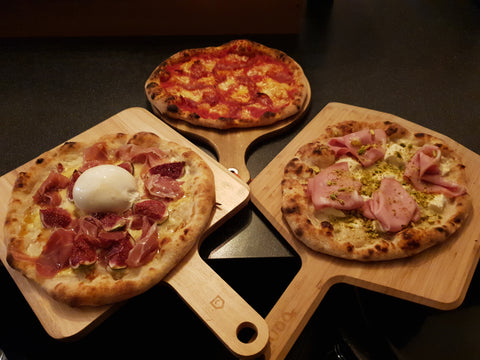 Sourdough thin crust pizzas cooked in Effeuno P134H