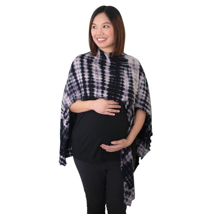 Open Nursing Shawl - Midnight Shibori