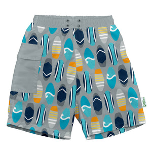Pocket Trunk w/built-in swim diaper - Gray Surfboards