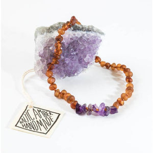 CanyonLeaf Raw Cognac Amber + Raw Amethyst (Infant)
