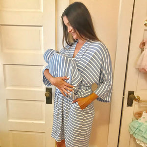 Blue Stripe Maternity Set (3-piece: Robe, Swaddle, & Hat)