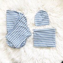 Load image into Gallery viewer, Blue Stripe Maternity Set (3-piece: Robe, Swaddle, & Hat)