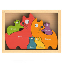 Load image into Gallery viewer, Bilingual Colors Cat Family Puzzle