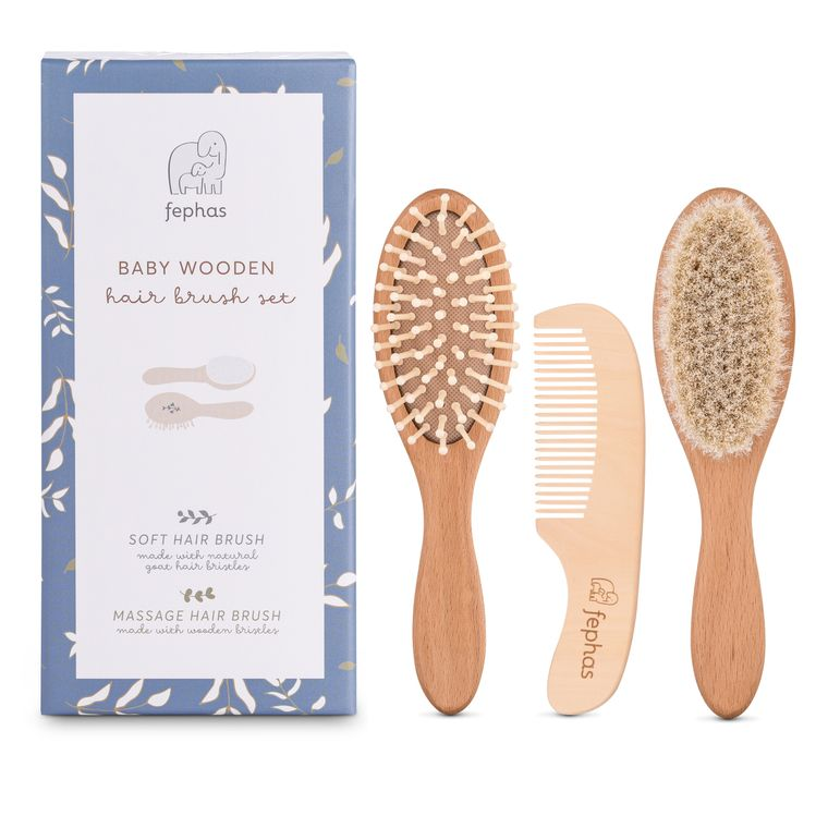 Natural Wooden Baby Hair Brush Set