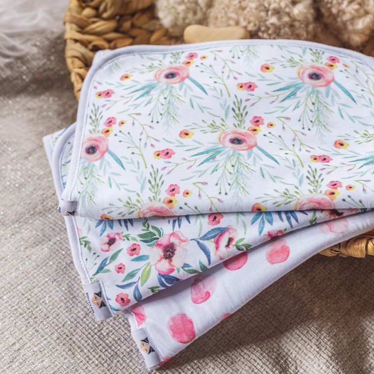 Dolly Lana Burp Cloth Set - Floral Kiss
