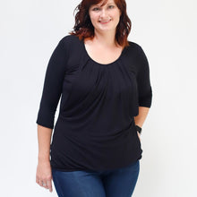 Load image into Gallery viewer, Black Pleated Nursing Top - 3/4 Sleeve