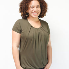 Load image into Gallery viewer, Olive Pleated Nursing Top -Short Sleeve