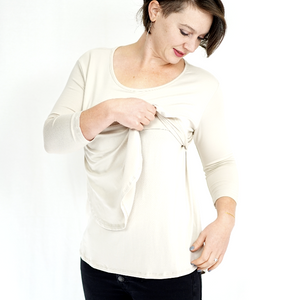 Ivory Scoop Neck Nursing Top - 3/4 Sleeve