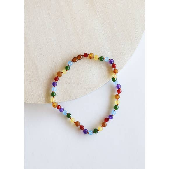CanyonLeaf Raw Amber + Gemstone Rainbow