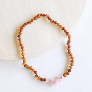 CanyonLeaf Cognac Amber + Raw Rose Quartz