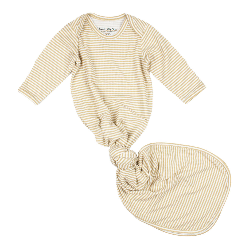 Tan Stripe Knotted Gown