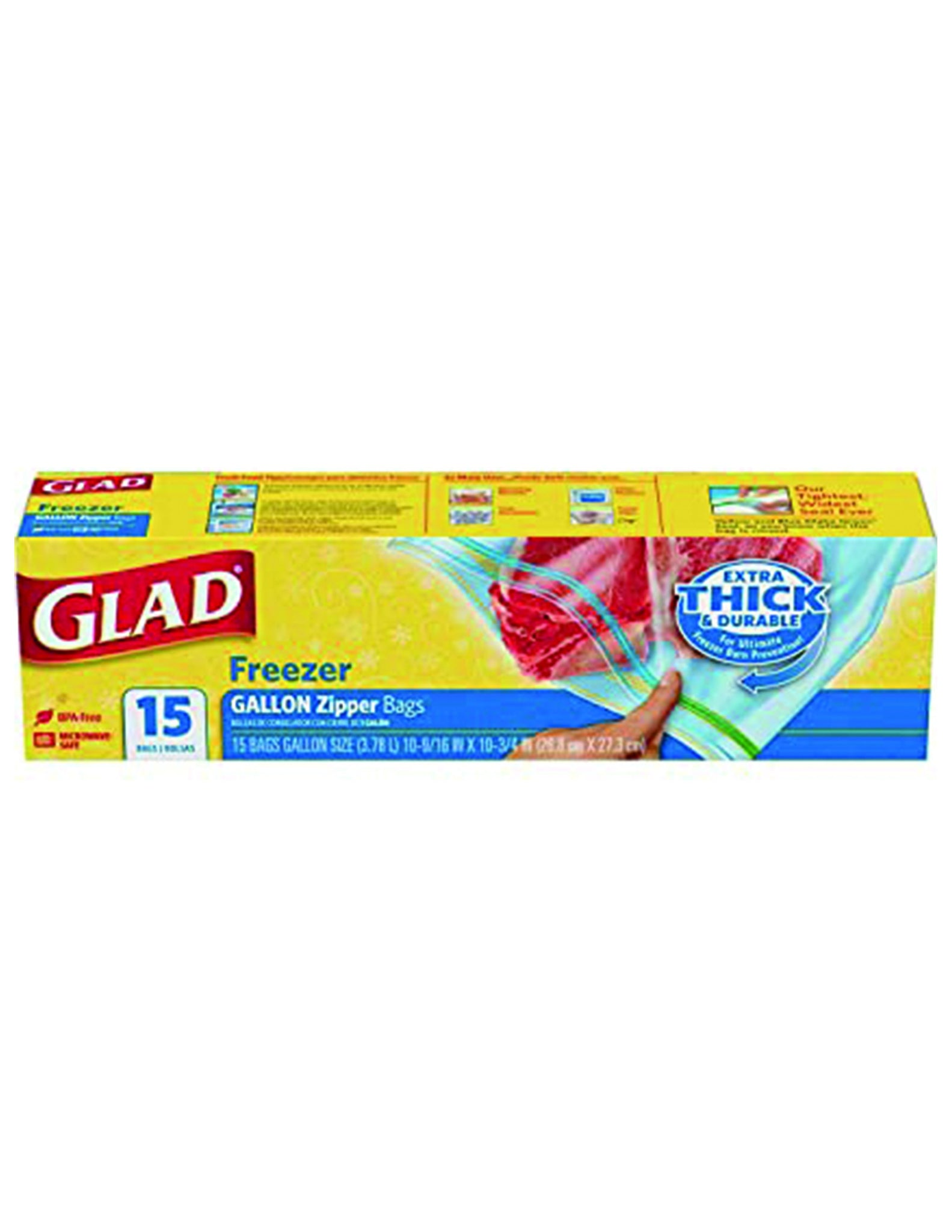 bel>Glad Storage Bags, gallon, 15 pack