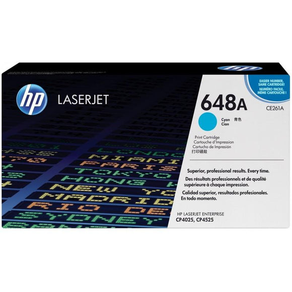 CE261A	HP 648A CYAN ORIGINAL LASERJET TONER CARTRIDGE - Consommables
